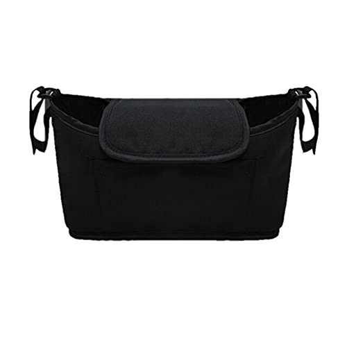 PHILSP Baby Stroller Bag Multi-pocket Baby Stroller Organizer Bag Waterproof Baby Stuff Nappy Cup Holder Black