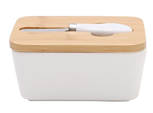 Plato De Mantequilla De Cerámica Con Tapa De Bambú, Caja De Almacenamiento Para Alimentos, Dulces, Recipiente De Mantequilla Con Anillo De Silicona-16,5 X 12 X 7,5 Cm.