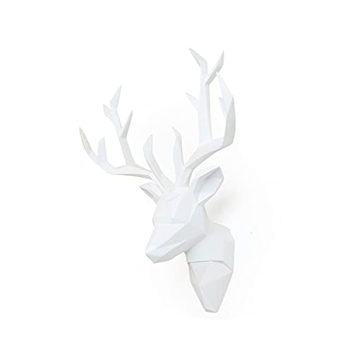 Montaje en pared Ciervo Cabeza Pared Colgando Pared Decoración Colgante Animal Escultura Sala De Estar Porche Fondo Pared Creativo Accesorios Cabeza de Animal (Color : White)