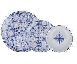 Santa Clara Javea-Vajilla Porcelana 18 Piezas Azul-Blanco