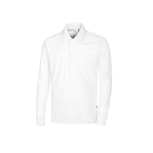 BP 1628-181-21-4XL Langärmeliges Unisex-Polohemd, 1/1 Ärmel, Polokragen mit verdecktem Druckknopfband, 220,00 g/m² Stoffmischung, weiß,4XL