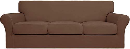 Mazu Homee 4 fundas elásticas de sofá suaves, se pueden limpiar (3 alfombrillas separadas), funda flexible para muebles (sofá, gris oscuro)