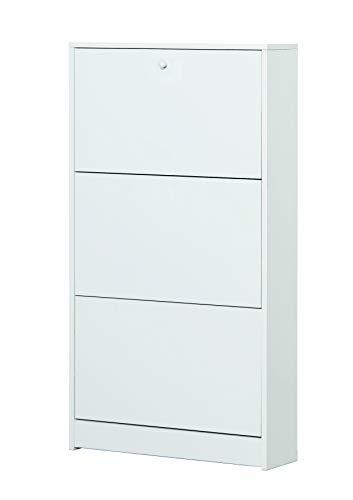 Esidra Scarpiera 3 Ante, Legno, Bianco, 62 x 18 x 114 cm