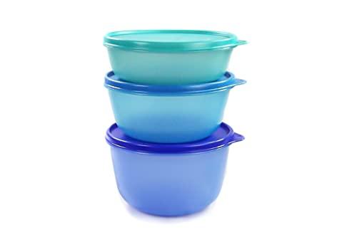 Tupperware, Clarissa Panorama 27537 - Set di contenitori da frigorifero, 2l blu scuro, 1,5l blu e 1 l turchese