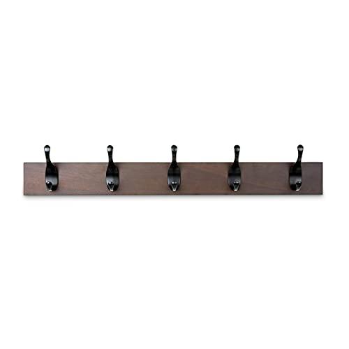 Amazon Basics - Perchero de madera de pared, 5 ganchos modernos 57 cm, Nogal