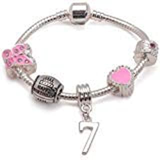 Liberty Charms Childrens Pink Happy 7th Birthday Silver Plated Charm Bracelet Jewellery Gift. Present for Girl with Gift Box (Other Sizes Available)