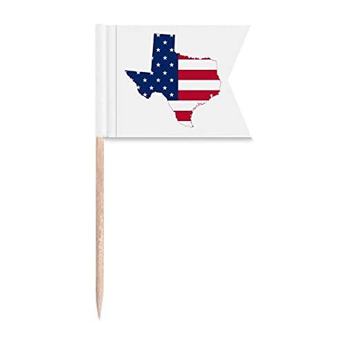 Texas USA Karte Sterne Streifen Flagge Form Zahnstocher Flaggen Markierung für Party Kuchen Lebensmittel Käseplatte