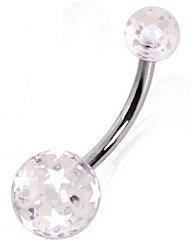 Piercing Boutique chirurgisch staal navelpiercing met heldere acryl Star Print ballen. 1.6mm (14 gauge) x 10mm Bar Lengte Witte sterren (Ook verkrijgbaar in Zwarte Sterren)