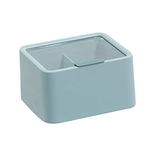 Hogar Multifuncional Transparente Caja de Almacenamiento de algodón de Dos células Escritorio Aparato de Almacenamiento de algodón Caja de Almacenamiento Joyería Caja de Acabado (Azul)