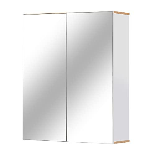 kleankin Badspiegel Badezimmerschrank Spiegelschrank Wandschrank mit 3 Ablagen Schminkschrank Spanplatte Weiß 60 x 20,5 x 75 cm
