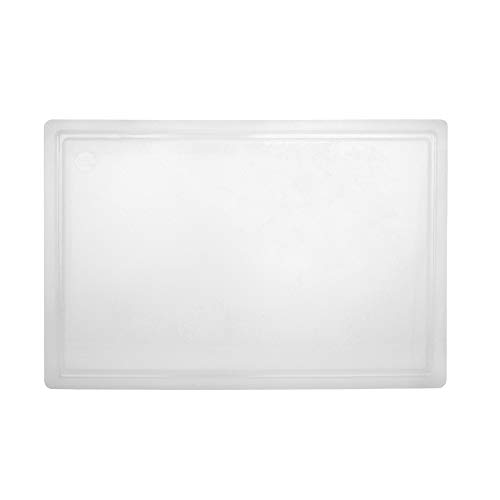 Commercial Plastic Carving Board with Groove, NSF Certified, HDPE Poly, 18 x 12 x 0.5 Inch, White