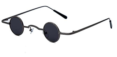 Steampunk Pequeñas Gafas de Sol Mujer Vintage Retro Retro Espejo Redondo Gafas de Sol Hombres Eyeaglass de Lujo UV400 Oculos (Color : 3, Size : F)