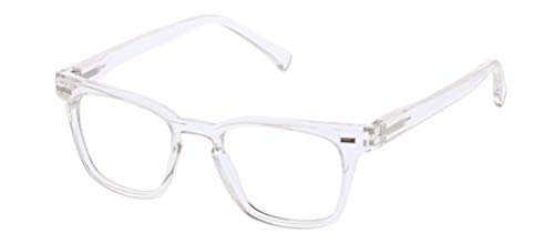 Peepers by PeeperSpecs unisex adult Strut Focus Blue Light Filtering Reading Glasses, Clear, 48 mm US