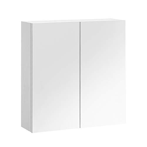 VASAGLE Spiegelschrank, Badezimmerschrank, Badschrank, Wandschrank fürs Bad, höhenverstellbare Regalebene, Doppeltür, modern, weiß BBK120W01