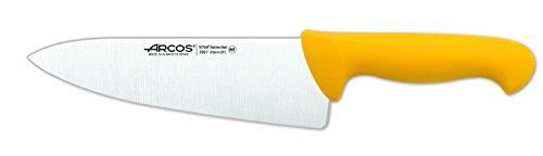 Arcos Serie 2900, Cuchillo Cocinero Ancho, Hoja de Acero Inoxidable Nitrum de 200 mm, Mango inyectado en Polipropileno Color Amarillo