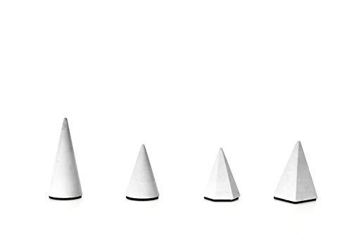 anaan Conic Porta Anillos Expositor Joyas alianzas boda pendientes Concreto Hormigon Diseño Geometría Industrial Decoración moderno (Juego de 4, 2 Cono y 2 Pirámide)
