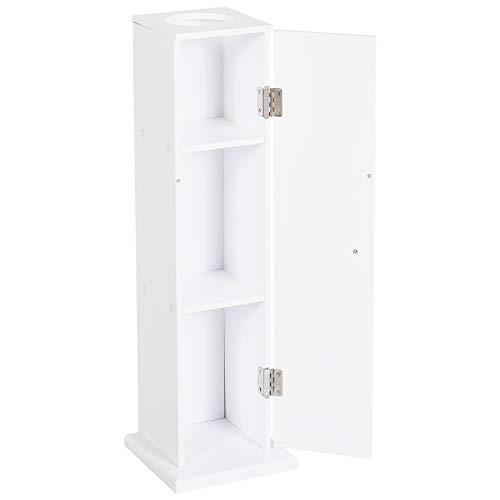 HOMCOM Badschrank Schubladenschrank Badezimmerschrank Badmöbel mit 3 Stufen, MDF, Weiß, 19,5 x 19,5 x 65 cm