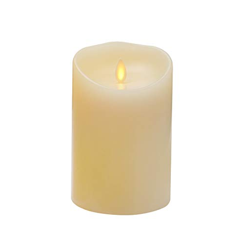 Flameless Candle with Realistic Dancing and Flickering Moving Wick,Vanilla Scented,5 inch Ivory