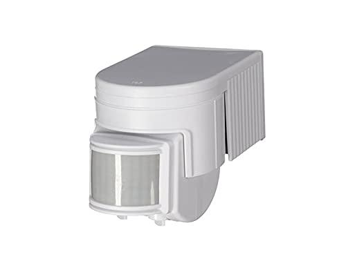 Detector de movimiento, 12 m/180°, intervalo de tiempo, máx. 1200 W, IP44, color blanco