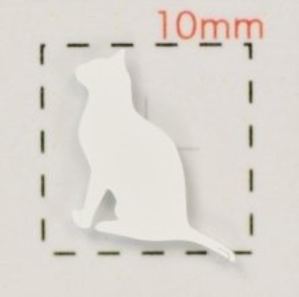 動物【ネイルシール】ネコ?猫(2)ホワイト/1シート9枚入