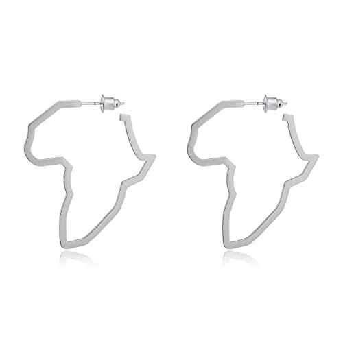 Pendientes de mapa africano, estilo étnico, pendientes colgantes de moda África, pendientes de aro para mujer