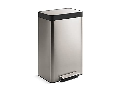 KOHLER 13 Gallon Hands-Free Kitchen Step Can, Trash Can with Foot Pedal, Quiet-Close Lid, Stainless Steel, K-20940-ST