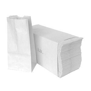 Paper Lunch Bags, Paper Grocery Bags, Durable White Paper Bags, 6 Lb Capacity, White, Pack Of 500 Bags