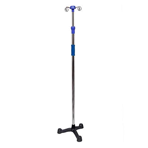 In hoogte verstelbare intrekbare IV-paal, gietijzeren voet roestvrij staal IV-paal, infuusstandaard voor kliniek of huis, 4 haken