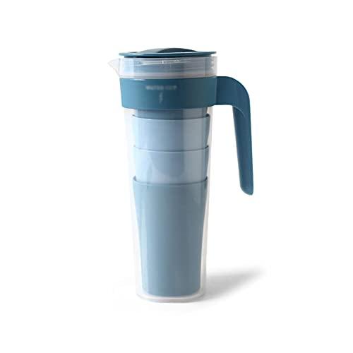XIAOSAKU Jarra de Agua Fría Caliente El Juego de jarras de Agua de plástico Incluye 1 Botella de Agua y 4 Tazas de Agua Tetera sellada de Multicolor de la Tetera de Alta Temperatura. Tetera de Hielo