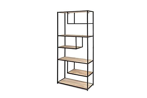 LIFA LIVING Modernes Bücherregal aus Holz und Metall für den Innenbereich, Schwarze Vitrine mit 7 offenen Fächern, Bücherregal im Industrie Design, 82x34x175cm