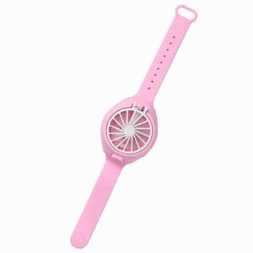 Ventilador de reloj portátil, 2 en 1 USB recargable enfriador con correa de muñeca cómoda, mini soplador de viento, aire acondicionado