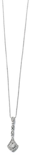 Elements Gold 9 kt Diamant, Weiß, Vintage-Stil, Tropfen-Anhänger, Kettenlänge 46 cm