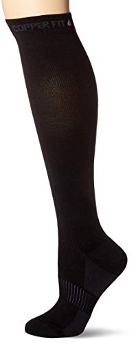 Copper Fit Women's Energy Plus Easy Off Knee High Compression Socks, Black, X-Large