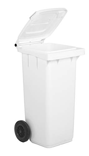 Bidone carrellato per la raccolta differenziata rifiuti Mobil Plastic 120 Lt per uso esterno - bianco (UNI EN 840)