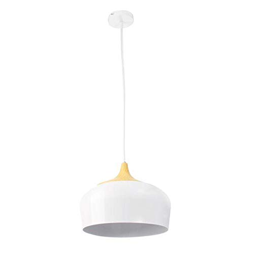Lámpara de Techo de Madera Ligero del Metal de la lámpara Colgante Negro/Blanco AC110-256V E27 30CM Simple LED de Techo Moderna (Color : White)
