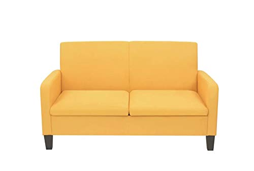 Zerone Sofá de 2 plazas, sofá cama de tela + espuma + madera de pino, sofá cama esquinero 135 x 65 x 76 cm (largo x ancho x alto) amarillo