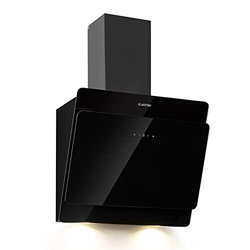 Klarstein Aurica Dunstabzugshaube kopffrei - Kopffreihaube mit 165 W Leistung, Wandhaube mit 620 m³/h Abluftleistung, 3 Stufen, Beleuchtung, Edelstahl, Fettfilter, Montagematerial, 60 cm, schwarz