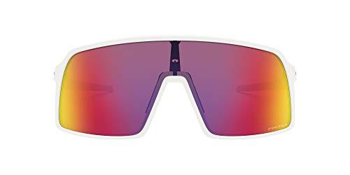 Oakley Men's OO9406 Sutro Polarized Shield Sunglasses, Matte White/Prizm Road, 37 mm