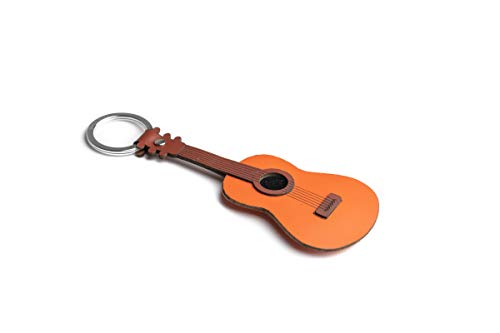 Dallaiti Design Schlüsselanhänger Klassische Gitarre aus Pigmentleder und gewachster Draht mit Schlüsselring aus Metall 14 cm braun