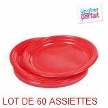 3 LOTS DE 20 ASSIETTES ROUGE DIAM 22