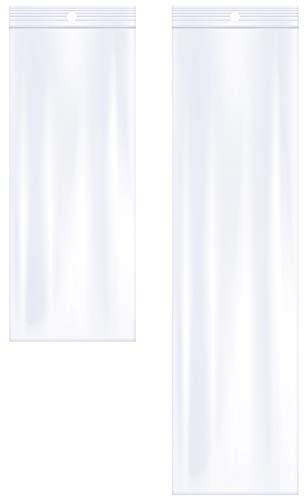 AlExuz 3' x 12' y 3' x 8', 2 mil (paquete de 100) bolsas de plástico con cierre transparente para joyas, collares con agujero para colgar, bolsas largas con cierre de cremallera para almacenamiento, bolsas resellables con cierre de cremallera