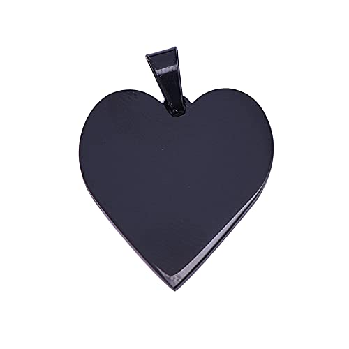 Airssory 1 Pc 304 Stainless Steel Heart Shape Blank Stamping Tag Black Pendants for Jewellry Necklace Making DIY…