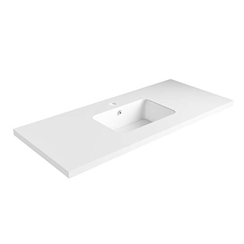 Discover Bargain Dyconn Faucet True Solid Surface Single-Bowl Vanity Top (48 (Single Bowl)) No Vani...