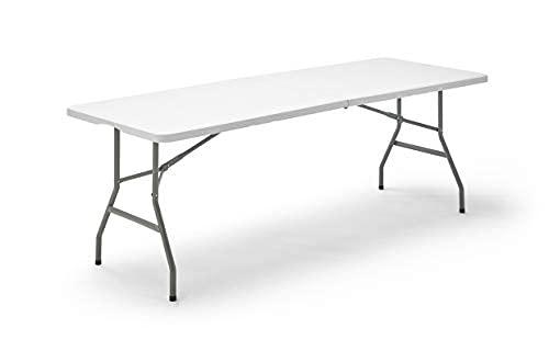 CASA EASTER Mesa 240cm Plegable Plástico Portátil, En Color Blanco, Eventos, Jardin y Exteriores