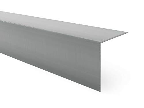 Quest Perfil angular de PVC de plástico, autoadhesivo, protección de cantos, esquinas y rincones, 20 x 20 mm, 150 cm, color gris oscuro