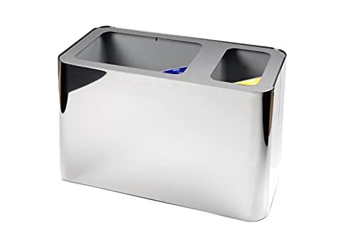 Cestino Raccolta Differenziata VEGAS - 2 FORI con coperchio aperto e secchi interni in plastica - Acciaio inox LUCIDO -247x24xh.32 cm - Capacità 1x6L+1x15L