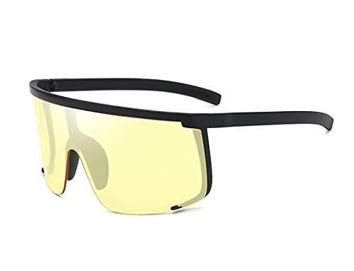 Gafas De Sol Nuevas Gafas De Sol Hombre Oversize Half Frame Gafas De Sol Mujer Gafas Gafas Uv400 Black-Yelloe