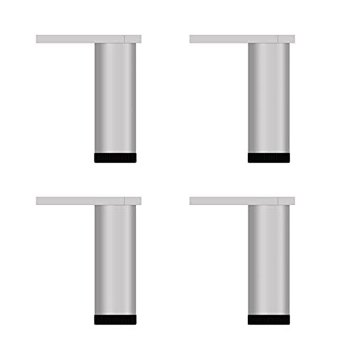 4 Piezas de Patas para Muebles de Aleación de Aluminio,Patas de Gabinete a Prueba de Agua,Patas de Sofá Ajustables,Patas de Soporte de Patas de Baño Plata,Altura:6-40cm (150mm/5.91in)
