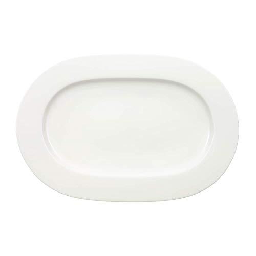 Villeroy & Boch - Plat Ovale Royal, Élégant Plat de Service à Bord Surélevé en Porcelaine Bone Premium de Qualité, Compatible Lave-Vaisselle, 34 cm