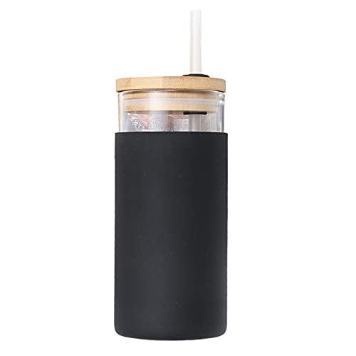CJFael Botella de agua deportiva para actividades al aire libre, botella de agua antiescaldamiento con pajita de vidrio borosilicato de alta calidad portátil para el hogar negro